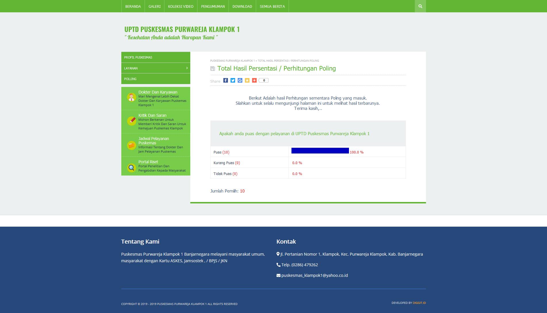 fitur poling pembuatan website Banjarnegara puskesmas purwareja klampok 1