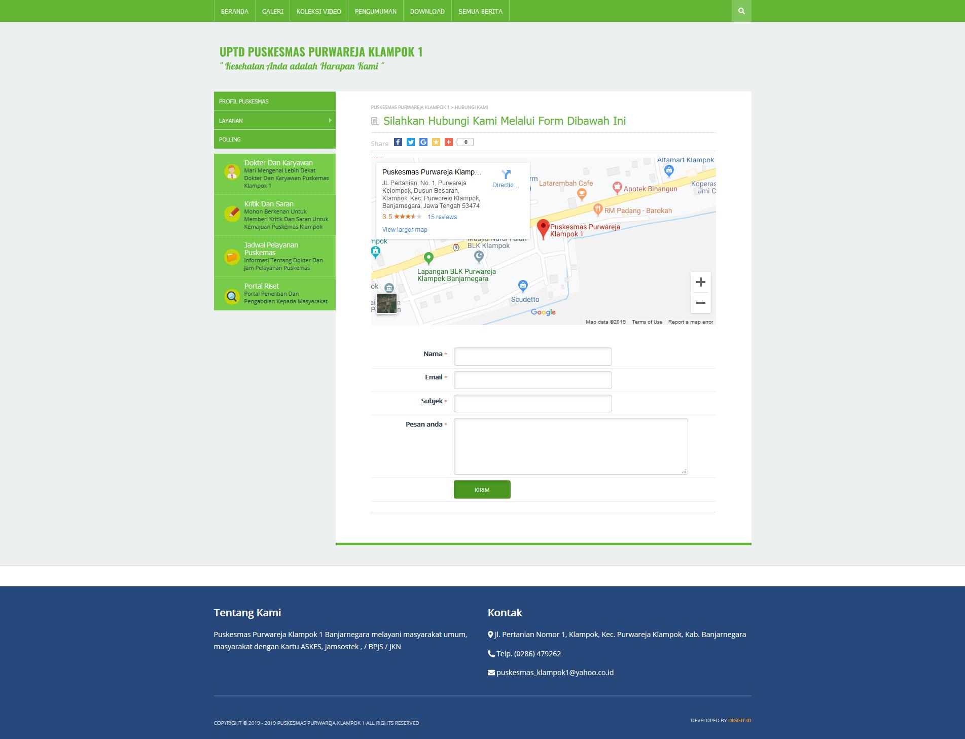 fitur pesan pembuatan website Banjarnegara puskesmas purwareja klampok 1