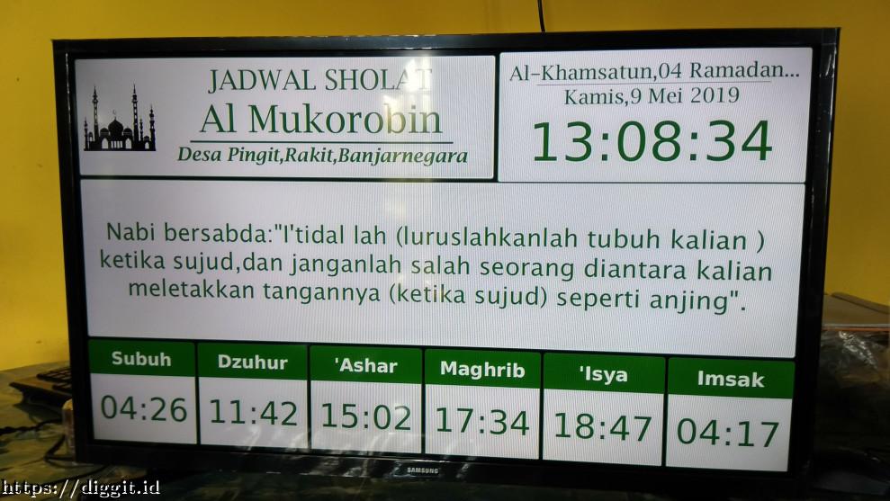 Gambar 1 Perangkat Jam Digital, Jadwal Sholat dan Hadist untuk Masjid di Banjarnegara